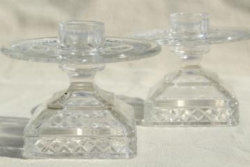 McKee Plymouth candle holders, vintage thumbprint waffle pattern glass candlesticks