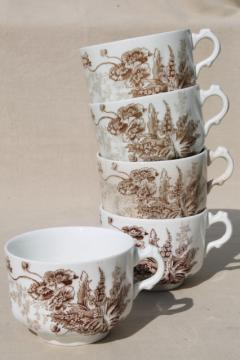 Meakin - Essex antique brown transferware ironstone china mug cups poppies & wildflowers
