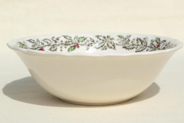 Merry Christmas Johnson Bros transferware china round vegetable serving bowl