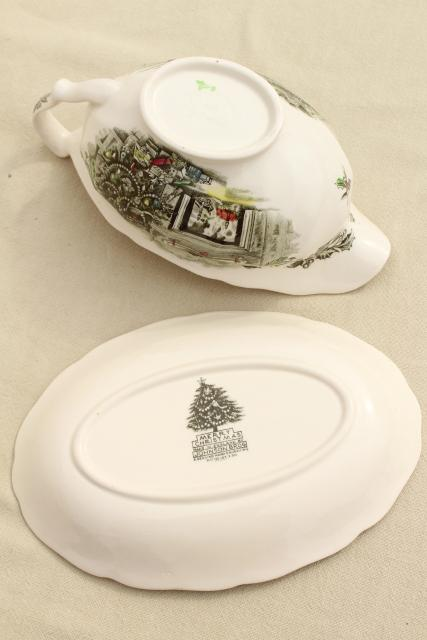 Merry Christmas Johnson Brothers china, vintage gravy boat & under plate