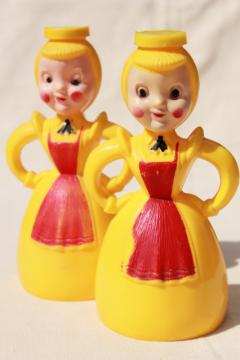 Merry Maid vintage plastic laundry sprinkler, yellow & red girls pair of maids