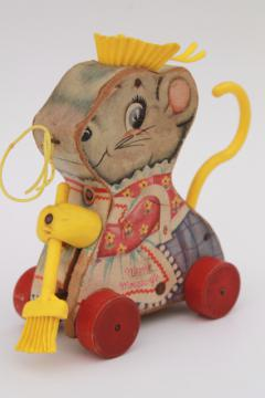 Merry Mouse Wife 1960s vintage Fisher Price wood pull toy, lady mouse keeper w/ broom