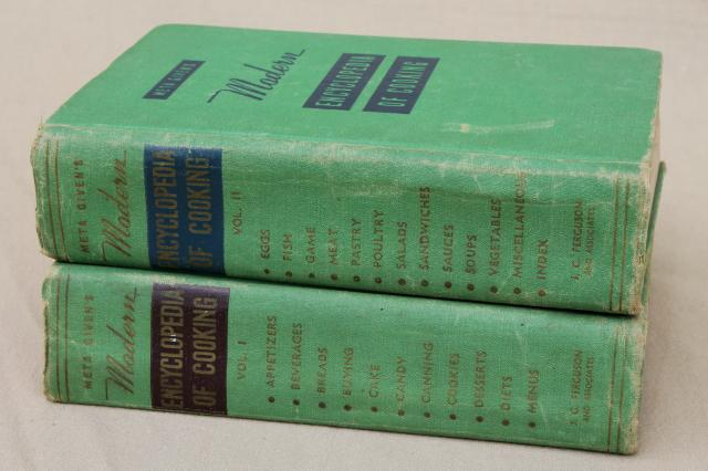 Meta Given's Modern Encyclopedia of Cooking vintage 1940s two volume cookbook set