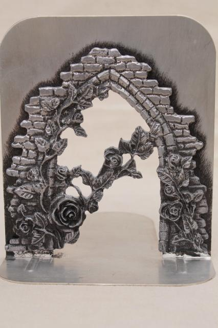 Metzke vintage silver tone pewter metal bookends, rose arbor garden wall book ends