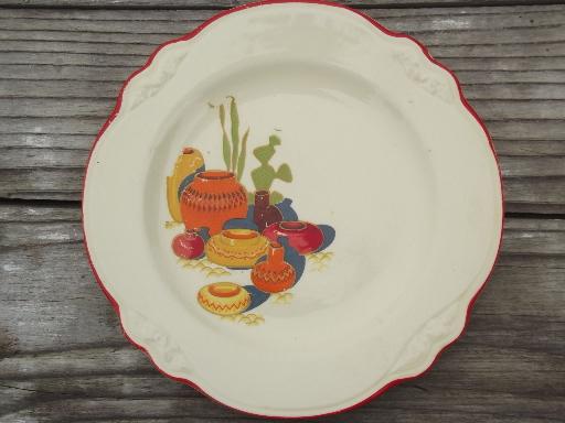 Mexicali cactus pattern vintage Homer Laughlin china plates Virginia Rose & Mexicali cactus pattern vintage Homer Laughlin china plates ...