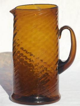 Mexican amber glass pitcher, large hand-blown glass pitcher for beer, margaritas