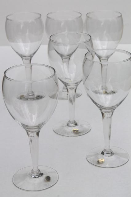 Mexican glass wine glasses w original labels never used Big w wine glasses