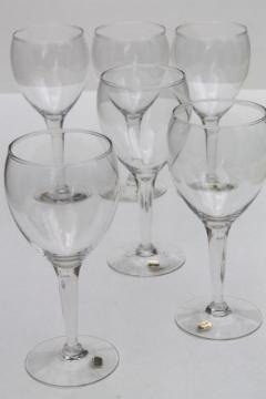 Mexican glass wine glasses w/ original labels, never used vintage stemware set