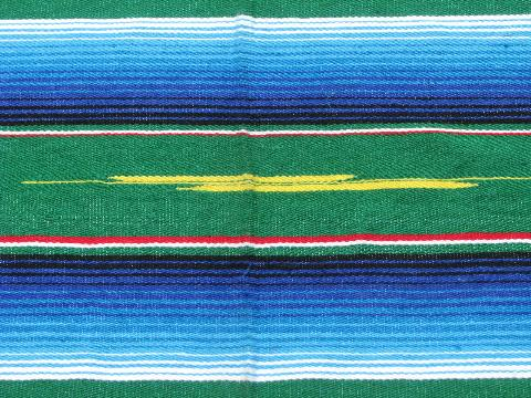 Mexican serape stripes, vintage Indian blanket rug, souvenir of Mexico