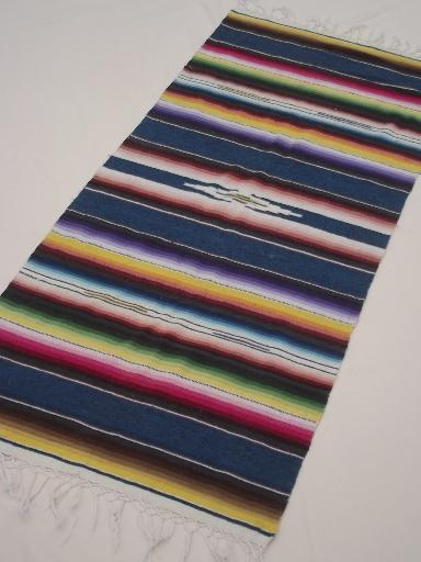 Mexican serape stripes, vintage  Indian blanket runner / rug, souvenir of Mexico