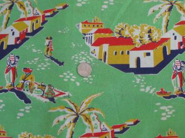 Mexican theme print on jadite green, vintage cotton flour sack fabric