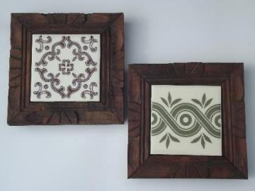 Mexican tile trivets, carved wood w/ Monterrey Mexico handpainted tiles