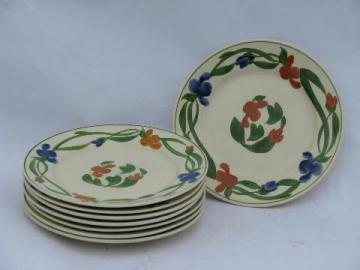 Mexico hand-painted flowers, TitianWare English china plates, vintage Adams-England