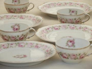 Mignon floral vintage  Z S & Co Bavaria china flowered plates & cups