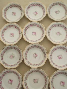 Mignon floral vintage china berry bowls set of 12, Z S & Co Bavaria