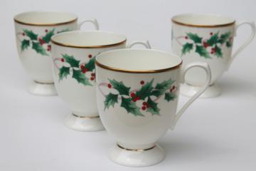 Mikasa Christmas Ribbon Holly holiday china coffee mugs, set of four cups