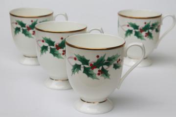 Mikasa Christmas Ribbon Holly holiday china coffee mugs, set of four cups