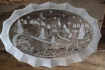 Mikasa crystal Christmas platter / serving tray, Silent Night Santa w/ sleigh