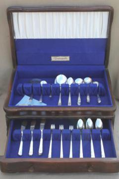 Milady Community plate vintage Oneida silver plated flatware, 50+ pcs in chest