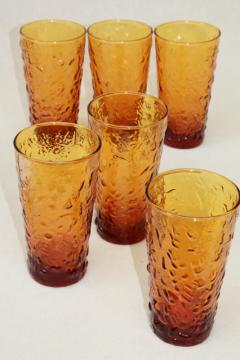 Milano Anchor Hocking amber glass ice texture tumblers, iced tea drinking glasses