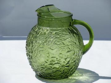 Milano or Lido vintage Anchor Hocking glass pitcher, retro green