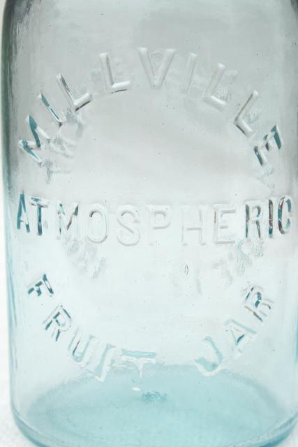 Millville Atmospheric Fruit Jar, old embossed blue glass canning jar