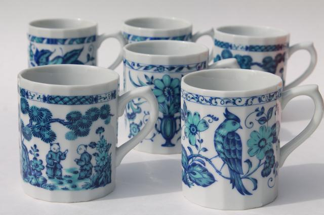 Ming Blue White Chinoiserie China Coffee Mugs Vintage An Chinese Export Style Porcelain