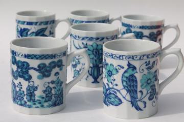 Ming blue & white chinoiserie china coffee mugs, vintage Japan Chinese export style porcelain