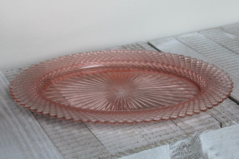 Miss America blush pink depression glass oval platter, 1930s vintage Anchor Hocking
