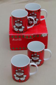 Mistletoe bear ceramic Christmas mugs, vintage Marshall Field's holiday china