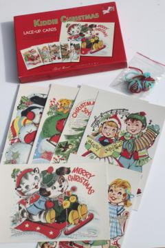 Moda home children's sewing lacing cards, retro Christmas card art illustrations