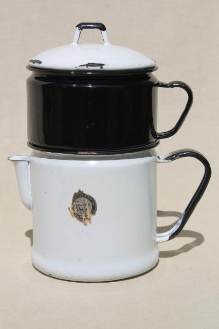 Modern Design label 1930s vintage enamelware stovetop coffee maker dripolator drip pot