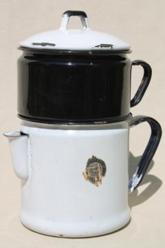 Modern Design label 1930s vintage enamelware stovetop coffee maker dripolator drip pot