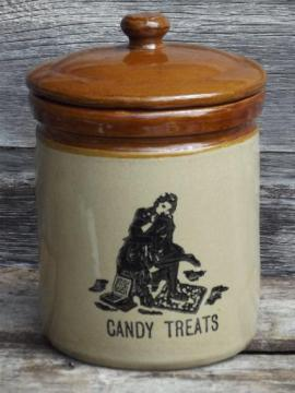 Moira pottery cookie jar crock w/ antique print, vintage English stoneware