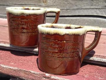 Monmouth brown drip pottery coffee mugs, Farmers Mutual Hail Insurance