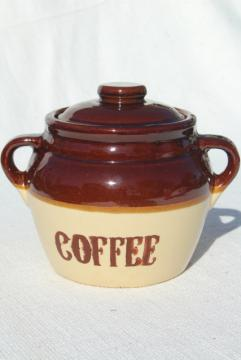 Monmouth stoneware pottery crock marked Coffee, vintage canister jar