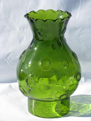 Moon & Star pattern glass, large vintage kero oil lamp, antique green color