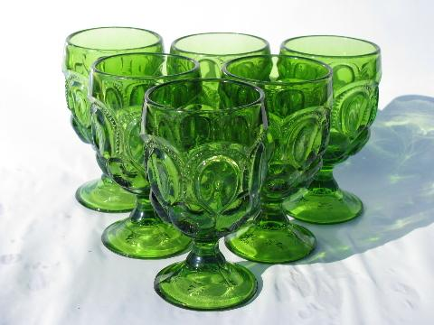 Moon Star Pattern Vintage Pressed Glass Goblets Or Water Glasses Antique Green