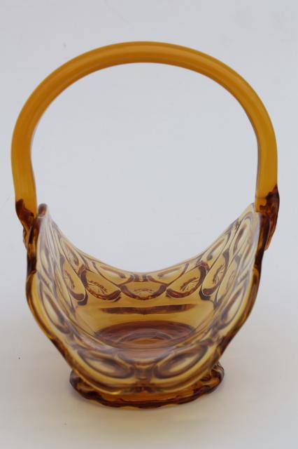 Moon Amp Stars Amber Glass Basket Vintage L E Smith Label