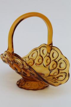 Moon & Stars amber glass basket, vintage L E Smith label pressed glass