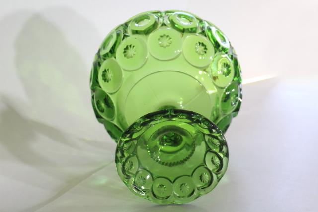 Moon & Stars pattern glass large compote or fruit bowl, vintage green glasswar