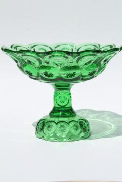 Moon and Stars pattern green glass compote pedestal stand candy dish or fruit bowl