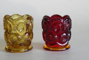 Moon and Stars pattern pressed glass toothpick holders, vintage amberina and amber glass