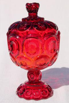Moon & stars pressed pattern glass candy dish or small compote, ruby red glass