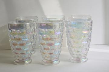 Moonglow iridescent luster tumblers, vintage Federal glass thumbprint pattern drinking glasses