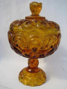 Moons and Stars pattern vintage amber glass covered candy bowl