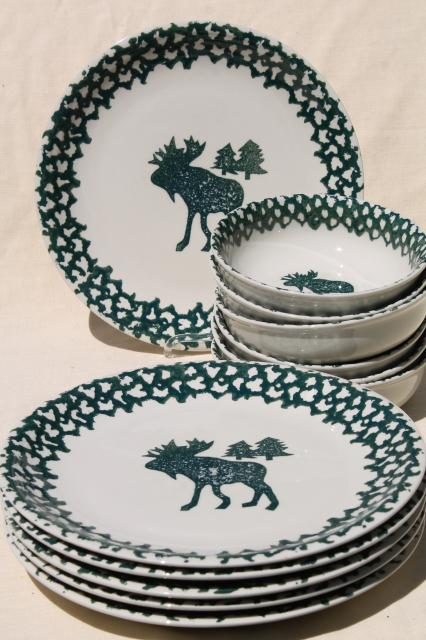 Moose Country green sponge ware stoneware dinner plates u0026 bowls Tienshan china & Moose Country green sponge ware stoneware dinner plates u0026 bowls ...