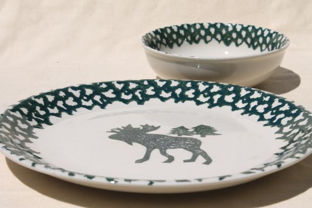 Moose Country green sponge ware stoneware dinner plates u0026 bowls Tienshan china & Moose Country green sponge ware stoneware dinner plates u0026 bowls ...