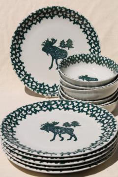 Moose Country green sponge ware stoneware dinner plates & bowls, Tienshan china