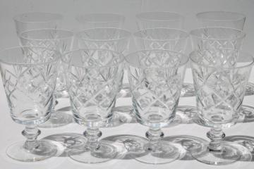 Morgantown glass Starlight pattern crystal water glasses, vintage set of 12 goblets